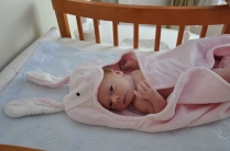 Post bath, on changing table. Mia loves bath time.