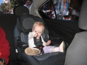 Loving the face-forward car seat, which was in our taxi to the airport in Mexico.