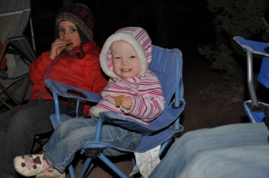 Eating graham crackers around the fire!  We passed on the chocolate and marshmallows for now...maybe next year.