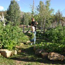 Helping Papa in the garden