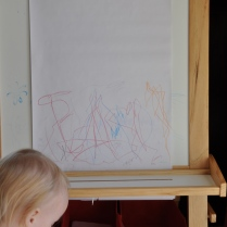 Art work on her easel.