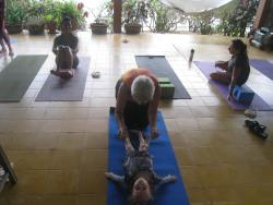 Yoga with her French Canadian friends