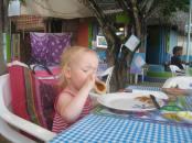 Eating marmalade/pancake tacos!