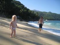 Mia and Papa on lovely beach