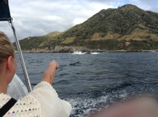 Auntie Nicole pointing at whales on our return from Corrales