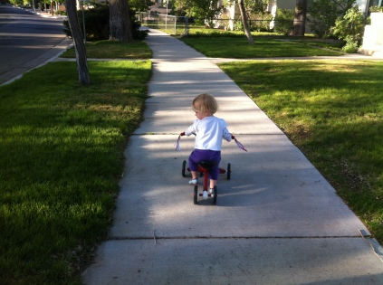 Riding her tricycle to the park