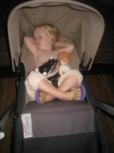 The stroller still puts her to sleep (especially handy when she protests nap time)