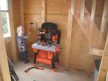 Tool table in playhouse
