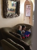 Reading with her friend (minutes before a my-turn-no-my-turn battle...ahhhh 3-year olds)