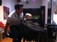 First haircut while sitting in the chair all by herself!