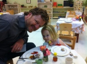 Mia and Papa at Spring Tea
