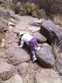 Climbing rocks on the trail
