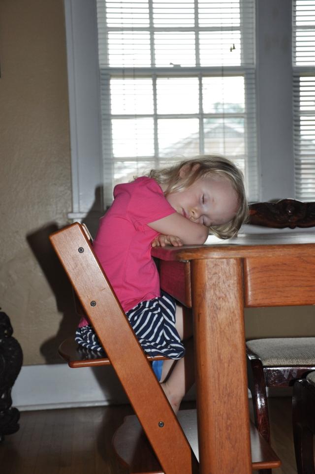 Falling asleep at the table at 6 PM!