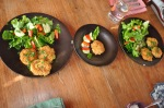 Brown rice fritters and salad for lunch